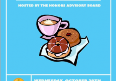 Blue background with cartoon woodcut illustration of coffee cup with two donuts beside it