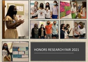 collage of students presenting research